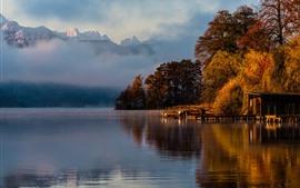 Morning, fog, pier, river, mountains, autumn