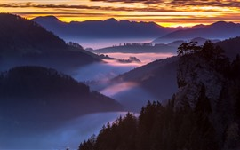 Nature landscape, mountains, fog, morning, sunrise