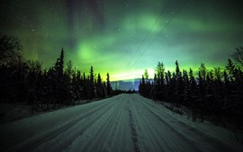 Preview wallpaper Northern lights, road, trees, stars, night, winter, snow