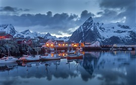 Preview wallpaper Norway, pier, boats, houses, mountains, snow, winter, night