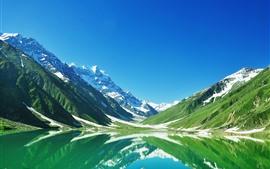 미리보기 배경 화면 파키스탄, 호수, 산, 눈, 물 반사