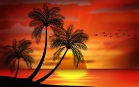 Palmeras, pájaros, puesta de sol, imagen vectorial