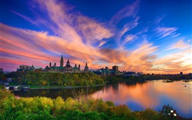 Parliament Hill, Canada, river, city, sky, clouds, dusk