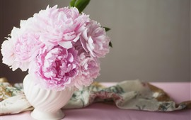 Preview wallpaper Pink peonies, vase, silk