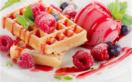 Preview wallpaper Raspberry, waffles, ice cream, dessert