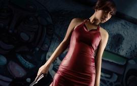 Resident Evil, chica de pelo corto, pistola