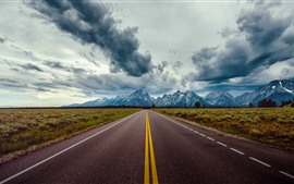 Preview wallpaper Road, mountains, thick clouds, dusk