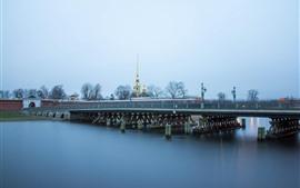 Saint-Pétersbourg, pont, rivière, ville, Russie