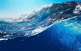 Ondas do mar, água azul, splash, debaixo d'água