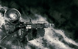 Preview wallpaper Soldier, armament, assault rifle
