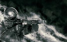Soldado, armamento, espingarda de assalto