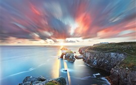 Preview wallpaper South West England, Cornwall, sea, arch, clouds, sunset