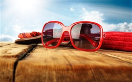 Preview wallpaper Sunglasses, wood, summer