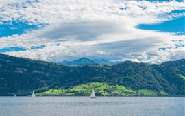Switzerland, river, sailboat, green, white clouds, blue sky