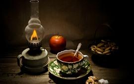 Té, manzana, galletas, lámpara, naturaleza muerta