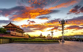 Preview wallpaper Tiananmen Square, sunset, red sky, clouds, Beijing, China