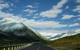 Preview wallpaper Tibet, snow covered mountains, road, clouds