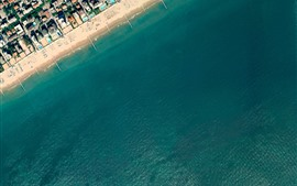 Preview wallpaper Top view, beach, sea, city