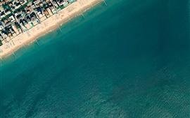 Top view, beach, sea, city