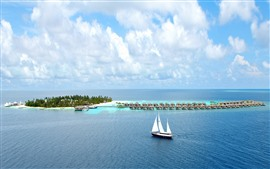 Preview wallpaper Tropical, yacht, island, blue sea, resort, clouds