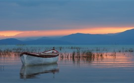 Preview wallpaper Turkey, Lake Beysehir, boat, mountains, sunset