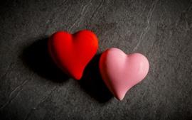 미리보기 배경 화면 두 사랑의 마음, 빨간색과 분홍색