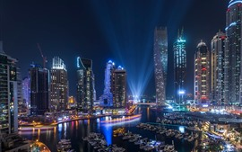 UAE, Dubai, night, skyscrapers, lights, boats, river
