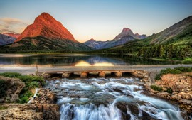 Preview wallpaper USA, Montana, mountains, river, bridge, park