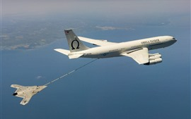 Preview wallpaper Unmanned, plane, refueling in sky
