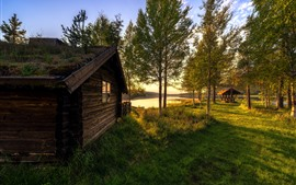 Preview wallpaper Vestby, Hedmark County, Norway, house, trees, river, sun rays