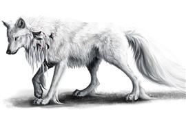 Vorschau des Hintergrundbilder Weißer Wolf, Kunstbild