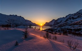 Preview wallpaper Winter, snow, lake, sunset, trees, mountains