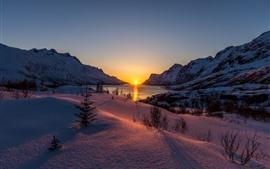 Зима, снег, озеро, закат, деревья, горы