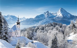 Preview wallpaper Winter, snow, trees, snowflakes, church, mountains