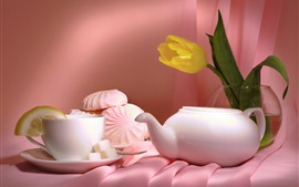 Preview wallpaper Yellow tulip, teapot, tea, cakes
