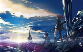 アニメの女の子と男の子、未来都市、虹