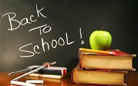 Voltar para a escola, livros, maçã verde