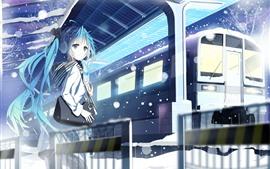 Menina de anime de cabelo azul, Hatsune Miku, trem, estação