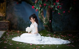 Preview wallpaper Bride, white skirt, Asian girl, flowers
