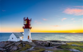 Cape, lighthouse, sea, sunset