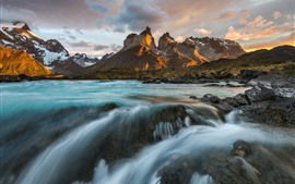 Chile, Patagonia, Andes mountains, river, clouds