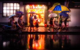 Preview wallpaper China, city, night, street, shop, rainy, umbrella, people