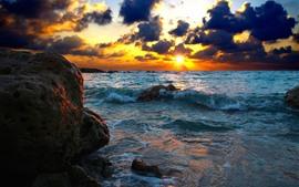 Nubes, mar, puesta de sol, piedras