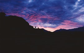 Nuvens, pôr do sol, montanhas, silhueta