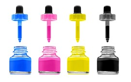 Colorful ink, white background
