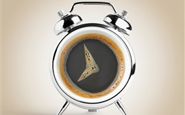 Imagen creativa, café, reloj.