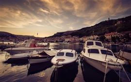 Aperçu fond d'écran Croatie, bateaux, maisons, rivière