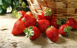 Delicious strawberries, basket
