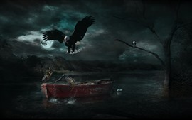 Preview wallpaper Eagle, fish, boat, moon, river, night, creative design