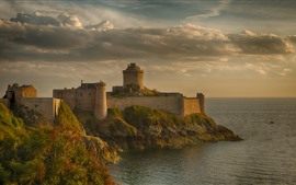 Preview wallpaper France, fortress, tower, sea